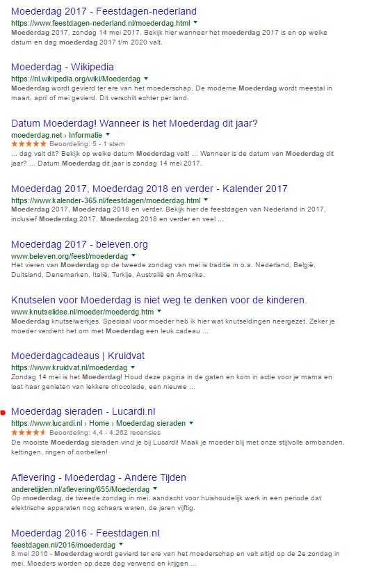 Afbeelding 1 organische zoekresultaten van Google voor de term Moederdag.png
