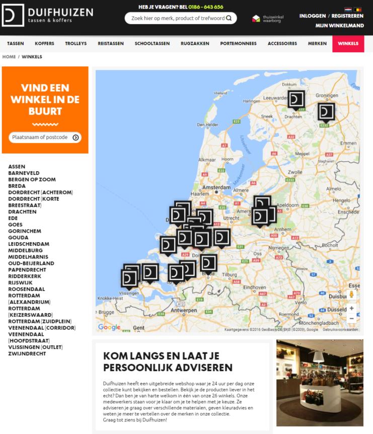 Winkeloverzichtspagina van Duifhuizen.nl