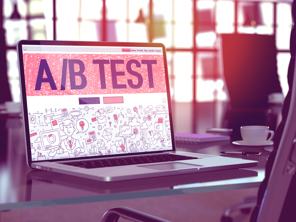 AB Test Concept. Closeup Landing Page on Laptop Screen in Doodle Design Style. On Background of Comfortable Working Place in Modern Office. Blurred, Toned Image. 3d Render.