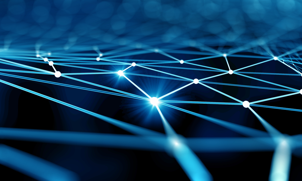 Blue virtual technology background with lines and grids